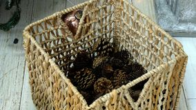 Cones collecting to basket stock video