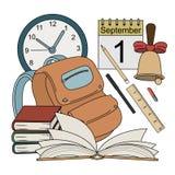 Ícones coloridos da escola do estilo dos desenhos animados Imagens de Stock Royalty Free