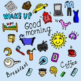 Ícones coloridos da manhã ajustados Fotos de Stock Royalty Free