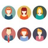 Ícones coloridos do círculo das caras ajustados Imagem de Stock
