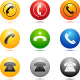 Ícones coloridos do telefone Fotos de Stock