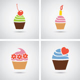 Ícones coloridos dos queques Imagens de Stock Royalty Free
