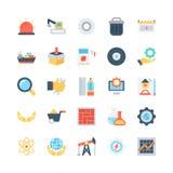 Ícones coloridos industriais 4 do vetor Imagens de Stock Royalty Free