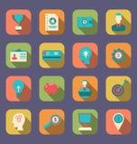 Ícones coloridos lisos de objetos do design web Fotografia de Stock Royalty Free