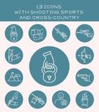 13 ícones com esportes do tiro e através dos campos Fotografia de Stock