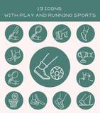 13 ícones com jogo e esportes running Fotos de Stock Royalty Free