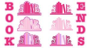 Ícones cor-de-rosa do suporte para livros Foto de Stock