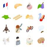Ícones 3d isométricos de França Fotografia de Stock