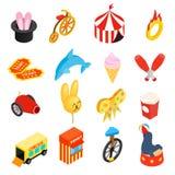 Ícones 3d isométricos do circo ajustados Imagem de Stock