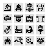 Ícones da aptidão e da saúde Fotografia de Stock