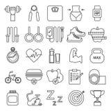 Ícones da aptidão no branco Fotografia de Stock