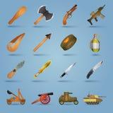 Ícones da arma ajustados Fotografia de Stock