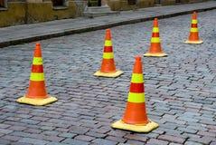 Cones da atenção da rua Imagem de Stock