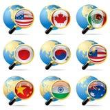 Ícones da bandeira do mundo Imagens de Stock Royalty Free