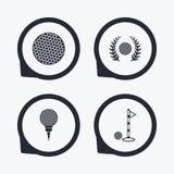 Ícones da bola de golfe Símbolo da concessão da grinalda do louro Imagem de Stock