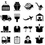 Ícones da carga e do transporte Fotografia de Stock
