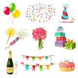 Ícones da celebração ajustados Fotos de Stock Royalty Free