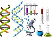 Ícones da ciência e da genética Fotografia de Stock Royalty Free