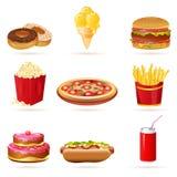 Ícones da comida lixo Fotos de Stock Royalty Free