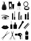 Ícones da composição e do cosmético ajustados Foto de Stock Royalty Free