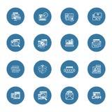 Ícones da compra e do mercado ajustados Fotos de Stock Royalty Free