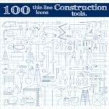 Ícones da construção - broca, perfurador e outras ferramentas Linha fina grupo de 100 em cores azuis no caderno Imagens de Stock Royalty Free