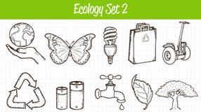 Ícones da ecologia ajustados Ilustração desenhada mão Vetor Fotos de Stock