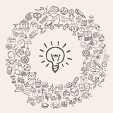 Ícones da educação da garatuja Imagens de Stock