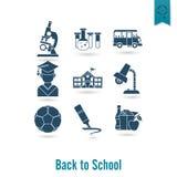 Ícones da escola e da instrução Fotografia de Stock