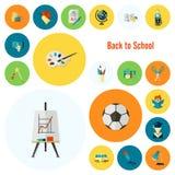 Ícones da escola e da instrução Fotografia de Stock Royalty Free