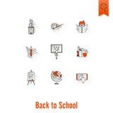 Ícones da escola e da instrução Fotos de Stock Royalty Free