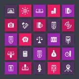 25 ícones da finança, investindo, capital de risco, partes, estoques, dinheiro, fundos, investimento, renda, ícones quadrados da  Foto de Stock Royalty Free