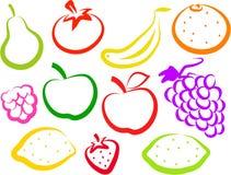 Ícones da fruta Fotografia de Stock Royalty Free