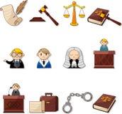Ícones da lei dos desenhos animados Imagens de Stock Royalty Free