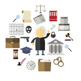 Ícones da lei, os legais e da justiça Imagem de Stock Royalty Free