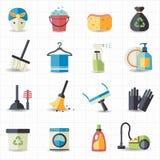 Ícones da limpeza Fotos de Stock