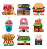 Ícones da loja/casa dos desenhos animados Foto de Stock Royalty Free