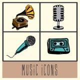 Ícones da música Fotografia de Stock