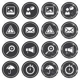 Ícones da navegação do Web site no jogo de etiquetas retro Fotografia de Stock