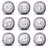 Ícones da pedra e da rocha para o jogo de Ui Imagens de Stock