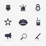 Ícones da polícia ajustados Ilustração Foto de Stock Royalty Free