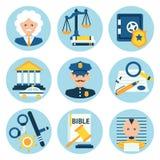 Ícones da polícia de justiça da lei Imagens de Stock