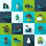 Ícones da poluição ajustados Fotos de Stock Royalty Free