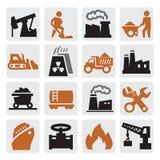 Ícones da produção de electricidade Fotos de Stock Royalty Free