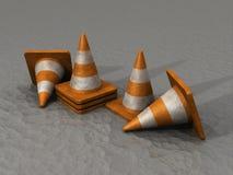 cones da segurança 3D na estrada asfaltada Imagens de Stock Royalty Free