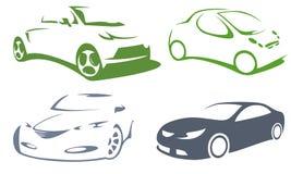 Ícones da silhueta dos carros Fotografia de Stock Royalty Free