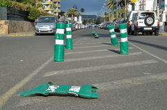 Cones danificados da estrada Fotografia de Stock Royalty Free
