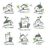 Ícones das casas ajustados Fotos de Stock Royalty Free