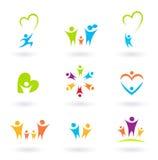 Ícones das crianças, da família, da comunidade e da proteção Imagem de Stock
