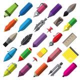 Ícones das ferramentas do desenho e da pintura da escrita dos artigos de papelaria ajustados Imagens de Stock